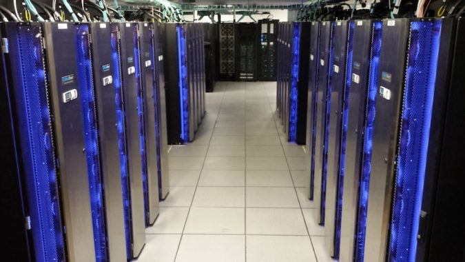 Servers for Biowulf supercomputing cluster with blue-light trim